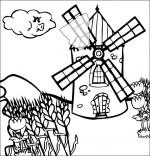 Coloriage Chanson Meunier tu dors, un moulin dans le vent