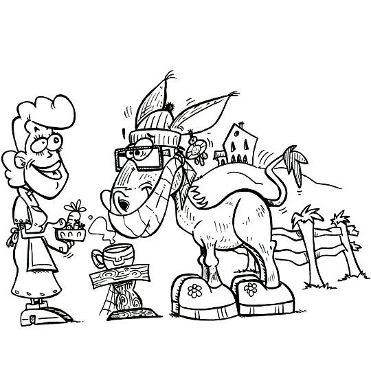 Coloriage pour enfants. Coloriage Mon âne, l'âne vient boire son chocolat, catégorie Chanson pour enfants Mon âne