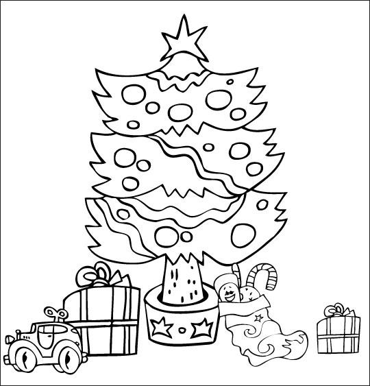Coloriage pour enfants. Coloriage chanson Mon beau sapin, le sapin de Noël illuminé avec les cadeaux, catégorie Chansons de Noël pour les enfants