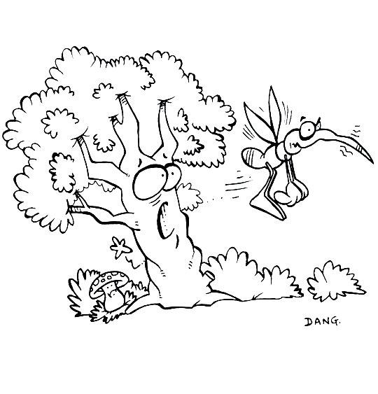 Coloriage pour enfants. Coloriage Petit moustique pique l'arbre, thème Moustique
