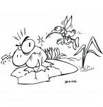 Coloriage Chanson Petit moustique pique le crapaud