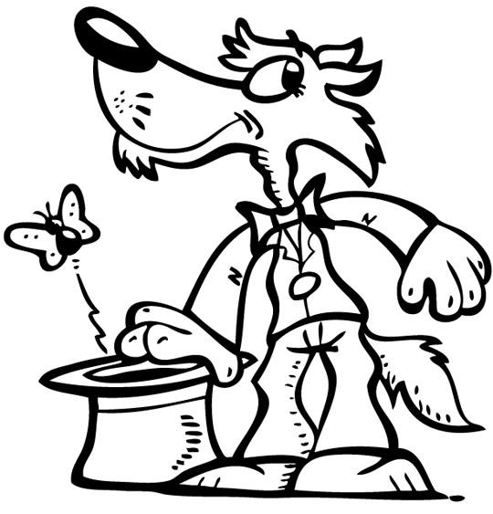 Coloriage Chanson Promenons-nous dans les bois, un beau loup