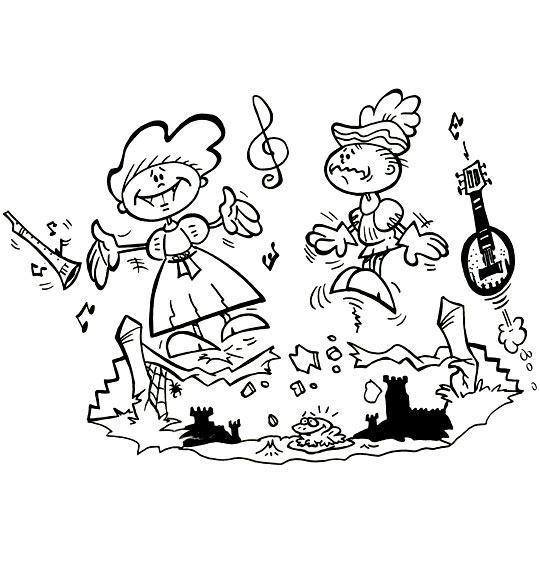 Coloriage pour enfants. Coloriage Sur le Pont du Nord, deux jeunes gens dansent sur un pont qui s'écroule, catégorie Chanson pour enfants Sur le Pont du Nord