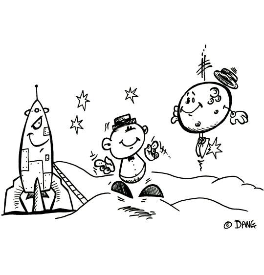 Coloriage pour enfants. Coloriage Swing la Lune, la fusée sur la lune, thème Lune