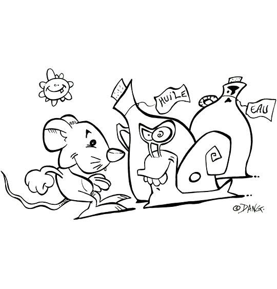 Coloriage pour enfants. Coloriage Une souris verte, la souris verte et l'escargot, catégorie Chanson pour enfants Une souris verte