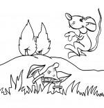 Coloriage Chanson Une souris verte, la souris verte qui court dans l'herbe