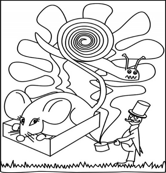 Coloriage pour enfants. Coloriage Une souris verte par Emareva, catégorie Chanson pour enfants Une souris verte