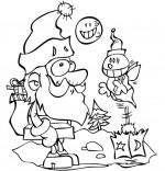 Coloriage Chansons de Noël, le père Noël et la luciole