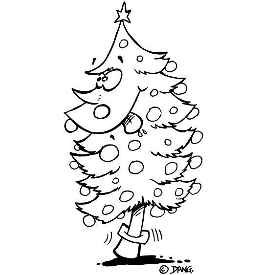 Coloriage Chansons de Noël, le sapin de Noël qui tire la langue