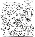 Coloriage Comptine Am Stram Gram, trois enfants jouent