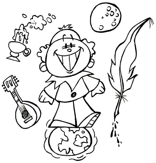 Coloriage pour enfants. Coloriage Au Clair de la Lune, Pierrot les pieds sur terre, la tête dans la lune, catégorie Chanson pour enfants Au Clair de la Lune