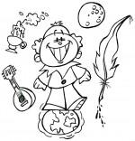 Coloriage Comptine Au Clair de la Lune, Pierrot les pieds sur terre, la tête dans la lune