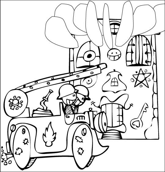 Coloriage pour enfants. Coloriage Au feu les pompiers, la maison brûle, thème Camion
