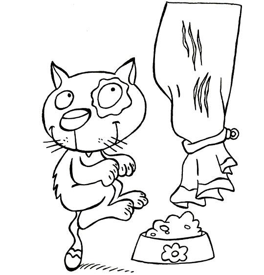 Coloriage Comptine Babou le chat, le chat grimpe au rideaux