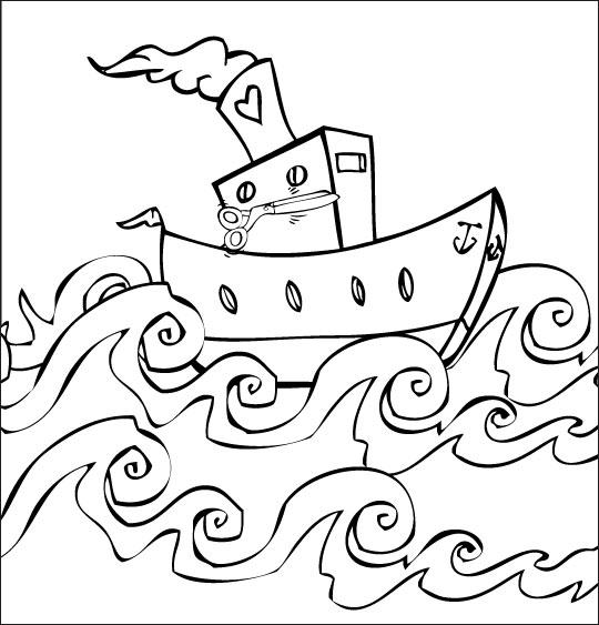 Coloriage comptine bateau ciseaux coloriage comptine bateau ciseaux le bateau dans les vagues - Dessin bateau enfant ...