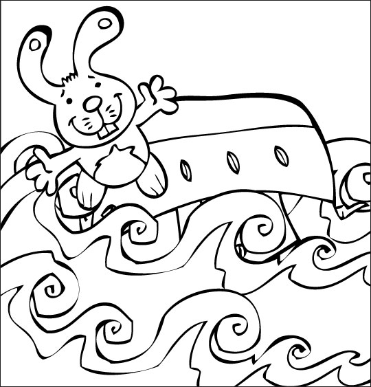Coloriage pour enfants. Coloriage Bateau, ciseaux, le bateau s'est renversé, thème Mer