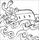 Coloriage Comptine Bateau, ciseaux, le bateau s'est renversé