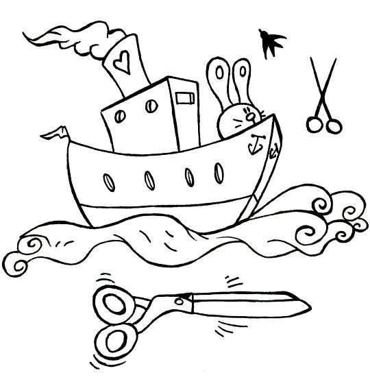 Coloriage comptine bateau ciseaux coloriage comptine bateau ciseaux le lapin sur le cargo - Dessin bateau enfant ...