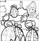 Coloriage Comptine Boum bing bang, c'est Pâques, les  poules, les oeufs, le lapin dans le jardin