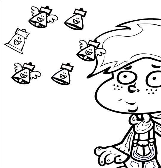 Coloriage pour enfants. Coloriage comptine Boum bing bang, c'est Pâques  les cloches sont dans le ciel, catégorie Comptine Boum bing bang c'est Pâques
