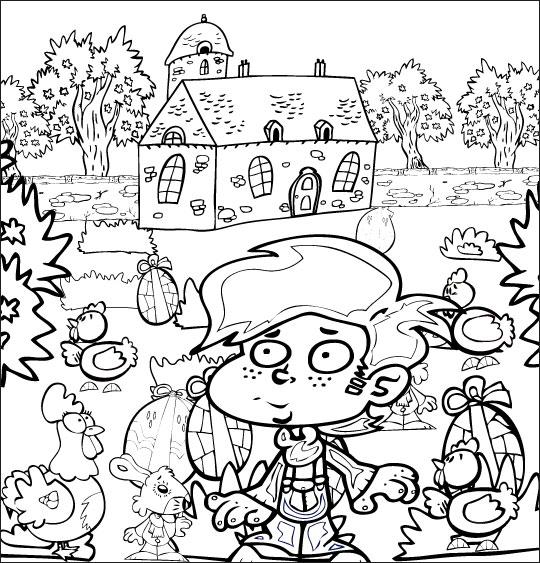 Coloriage pour enfants. Coloriage comptine Boum bing bang, c'est Pâques, le jardin rempli d'oeufs de Pâques, thème Lapin