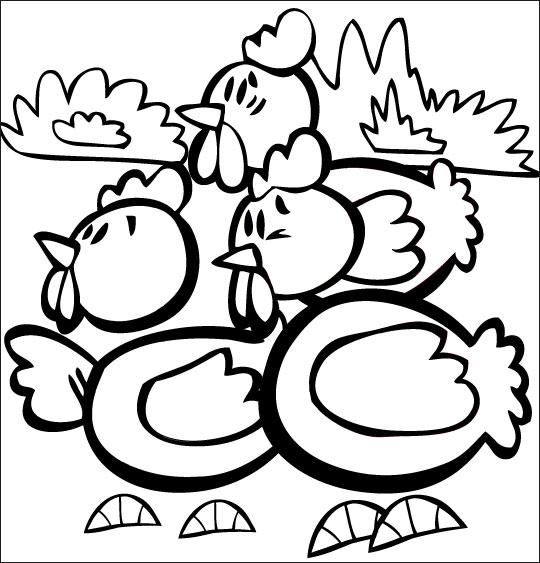 Coloriage pour enfants. Coloriage comptine Ce matin dans mon jardin, des poules en chocolat pour Pâques, catégorie Comptine Ce matin dans mon jardin
