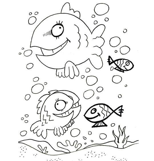 Coloriage Comptine Cinq petits poissons dans l'eau