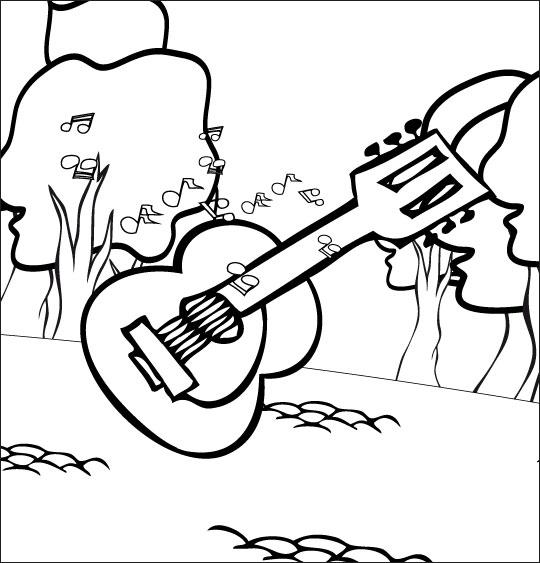 Coloriage pour enfants. Coloriage comptine Dansons la capucine, la guitare pour la musique, catégorie Comptine Dansons la Capucine