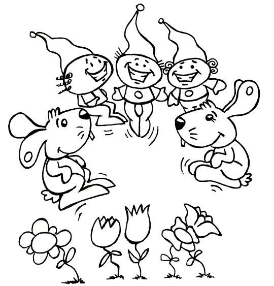 Coloriage pour enfants. Coloriage Deux petits lapins, deux lapins dansent avec trois lutins, thème Lapin