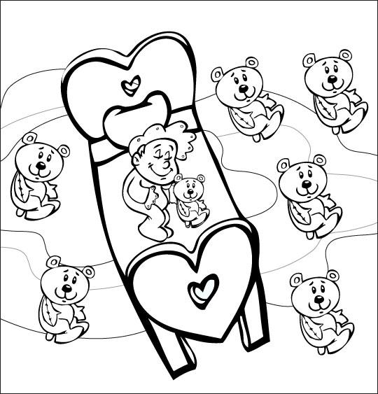 Coloriage pour enfants. Coloriage comptine Dodo, l'enfant do, le bébé rêve avec son doudou nounours, thème Ours