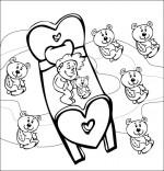 Coloriage Comptine Dodo, l'enfant do, le bébé rêve avec son doudou nounours