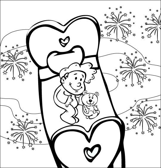 Coloriage pour enfants. Coloriage comptine Dodo, l'enfant do, un bébé dans le ciel au milieu des feux d'artifices, thème Ours