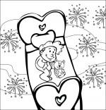 Coloriage Comptine Dodo, l'enfant do, un bébé dans le ciel au milieu des feux d'artifices