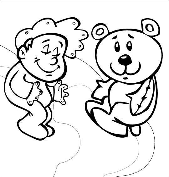 Coloriage pour enfants. Coloriage comptine Dodo, l'enfant do, un bébé dans le ciel avec son nounours, thème Ours