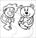 Coloriage Comptine Dodo, l'enfant do, un bébé dans le ciel avec son nounours