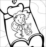 Coloriage Comptine Dodo, l'enfant do, un bébé dans son lit avec son nounours