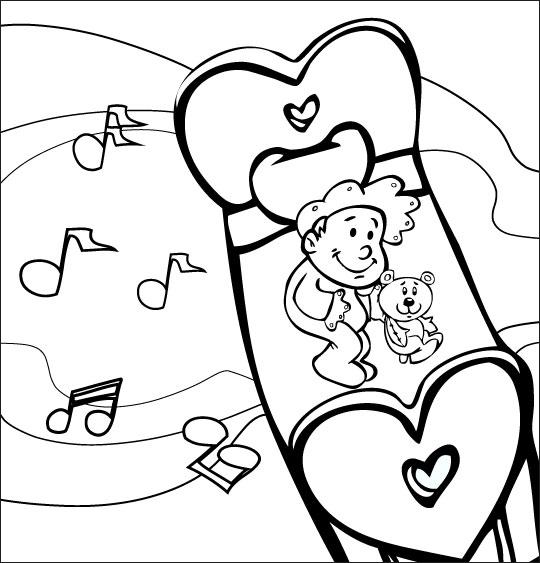 Coloriage pour enfants. Coloriage comptine Dodo, l'enfant do, un bébé rêve dans le ciel en écoutant de la musique, thème Ciel