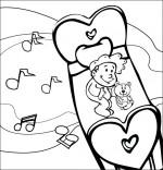 Coloriage Comptine Dodo, l'enfant do, un bébé rêve dans le ciel en écoutant de la musique