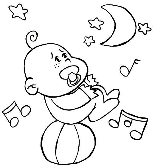 Coloriage Comptine Dodo, l'enfant do, un bébé s'endort en équilibre sur un ballon