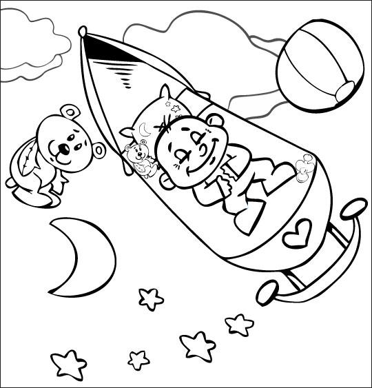 Coloriage pour enfants. Coloriage comptine Fait dodo Colas mon petit frère, bébé est dans les étoiles, catégorie Comptine Fait dodo Colas mon petit frère