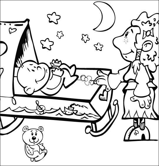 Coloriage pour enfants. Coloriage comptine Fait dodo Colas mon petit frère, la soeur berce le bébé, catégorie Comptine Fait dodo Colas mon petit frère