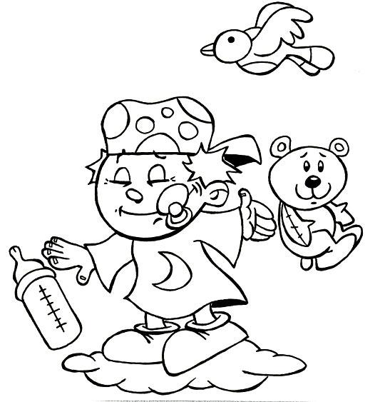 Coloriage Comptine Fait dodo Colas mon petit frère, un bébé sur un nuage