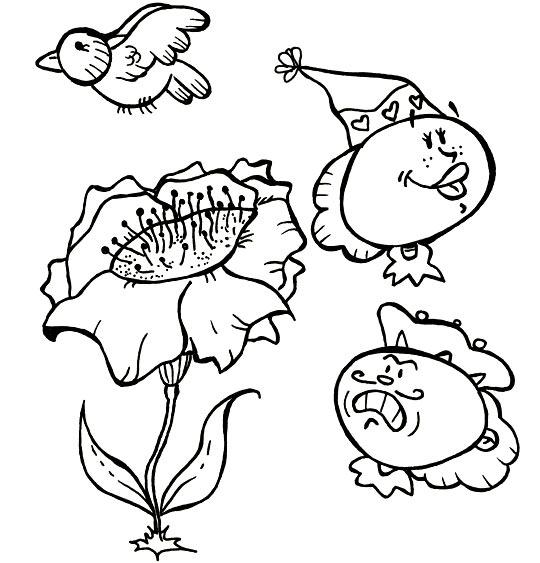 Coloriage Comptine Gentil coquelicot, le coquelicot et l'oiseau