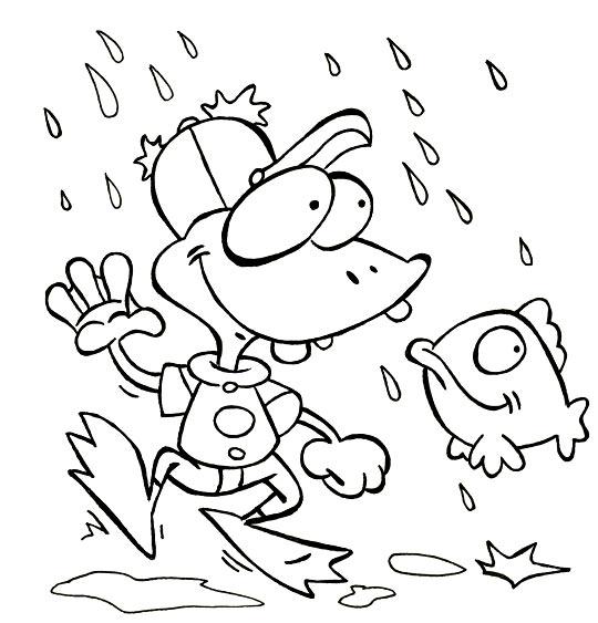 Coloriage Comptine Il pleut, il mouille, c'est la fête à la grenouille, une grenouille et un poisson
