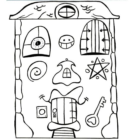 Coloriage Comptine Je fais le tour de la maison ! Une maison vraiment bizarre.
