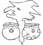 Coloriage Comptine La soupe à la sorcière, 2 marmites au choix