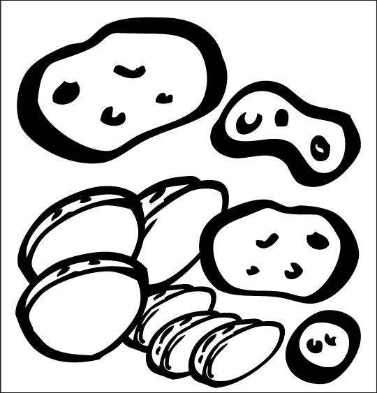 Coloriage pour enfants. Coloriage La soupe à la sorcière, les pommes de terre, catégorie Comptine La soupe à la sorcière