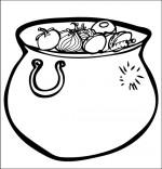 Coloriage Comptine La soupe à la sorcière, une marmite de soupe aux légumes
