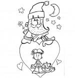 Coloriage Comptine Lettre au père Noël, un père Noël sur un coeur