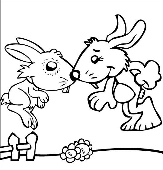 Coloriage pour enfants. Coloriage Mon petit lapin a bien du chagrin, le bisou, thème Lapin